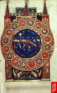 Frontispiece of the Book of Exodus. Duke of Sussex German Pentateuch, copied in southern Germany around 1300.