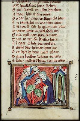 Saul is Anointed King by Samuel.  Michiel van der Borch, 1332, Illumination on vellum.