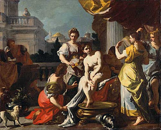 Solimena Francesco, Bathing Bathsheba, c. 1725.