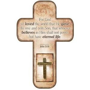 For God so loved the world that he gave his one and only son, that whoever believes in him shall not perish but have eternal life verse written on Christian wooden cross photo free download