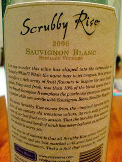 Wirra Scrubby Rise Sauvignon Blanc Semillon Viognier South Australia 2006