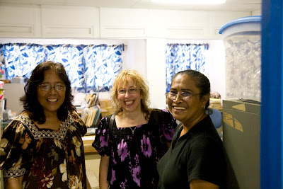 Three women in an office, Kathy Mori's boss, Donna McNear and Kathy Mori