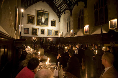 Dining hall by candelight