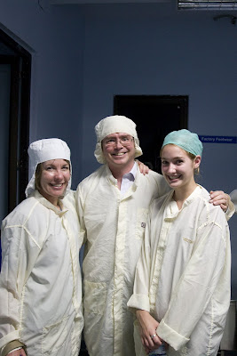 Three Fruchtermans (people) in clean-room suits