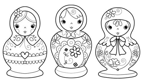 babushka coloring pages | Marisa Straccia: Three Russian dolls