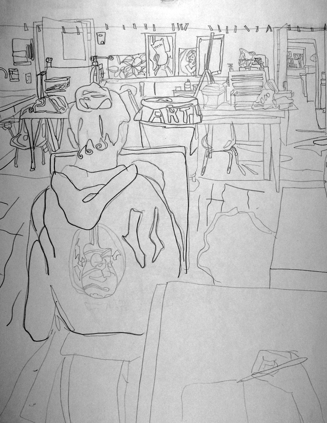 Art Room Drawing: BYUH Drawing: Art Room Contour Drawing