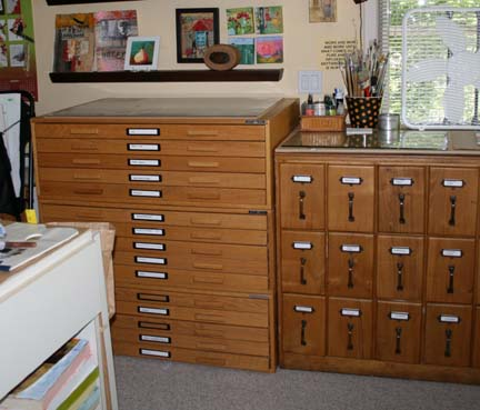 Flat Files And Vintage Pattern Cabinet