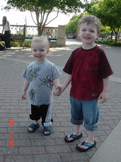 Noah (left) and Micah (right) Near the water fountains on Kellog St.