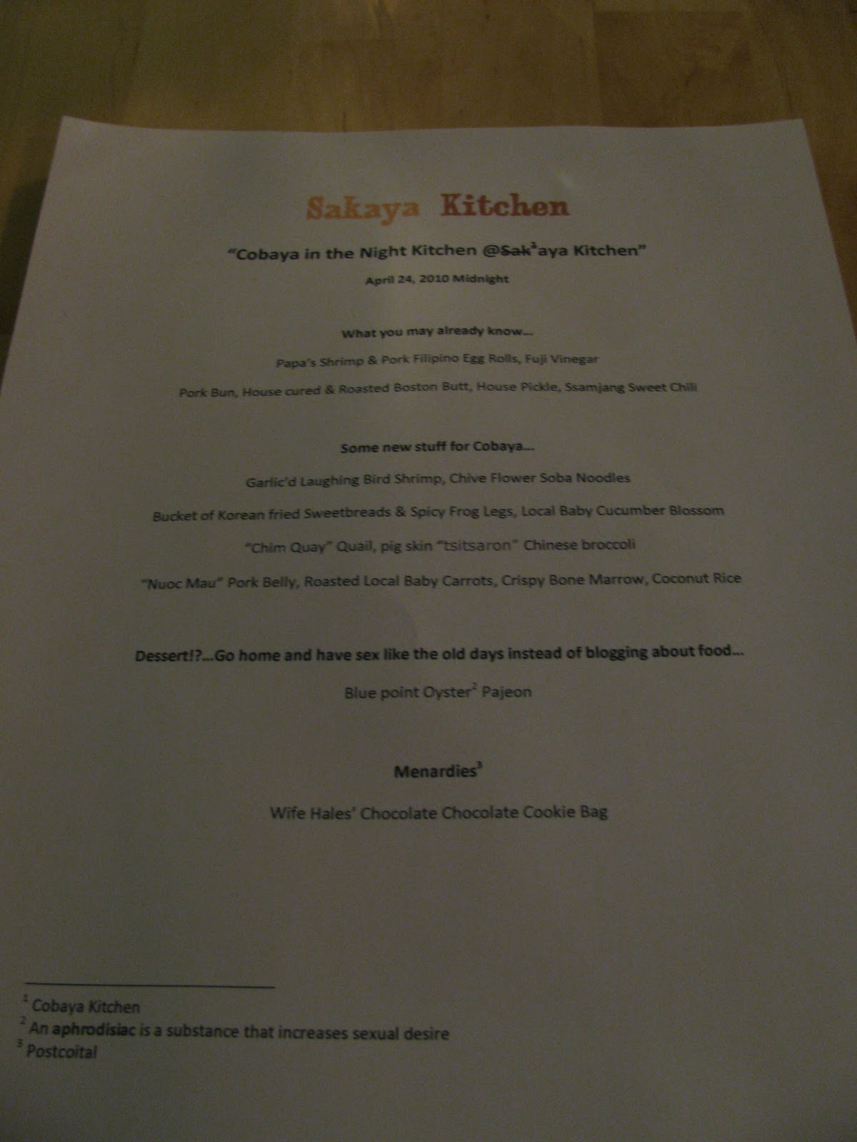 Cobaya Kitchen menu