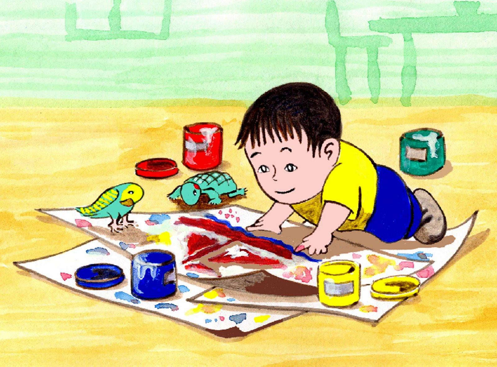Dejen a los ni os venir a mi pintar escribir dibujar - Ninos pintando con las manos ...