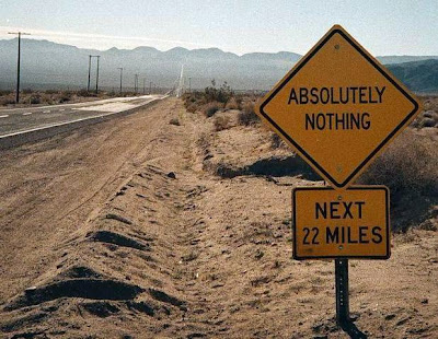 photo of a sign saying nothing ahead