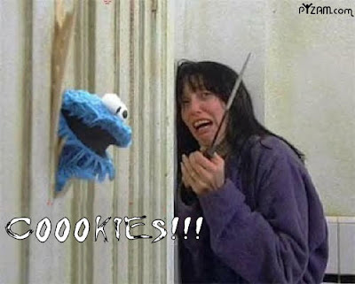 image of cookie monster breaking through a door