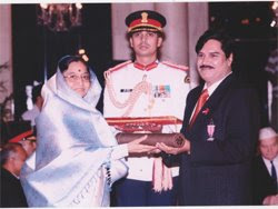 Surya Rao receiving Padma Shree Award from President of India