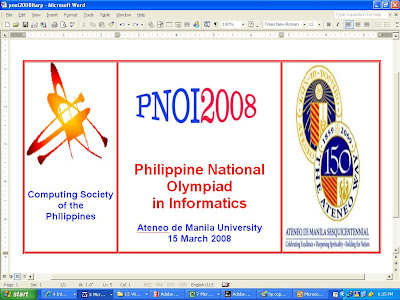 Philippine National Olympiad In Informatics PNOI 2008 Poster