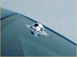 ball in windscreen