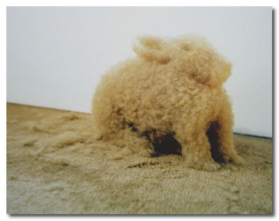 hare made from carpet fluff