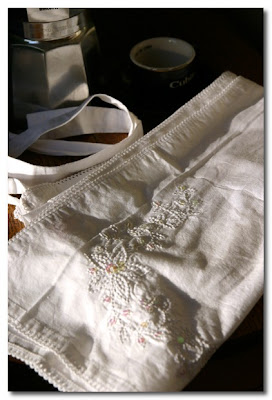 embroidered and sequined apron