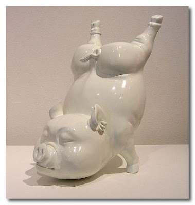 ceramic pig at the robischon gallery denver