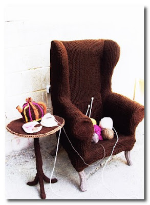 knitted chair and table by lauren porter