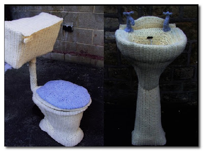 knitted toilet and washbasin by lauren porter