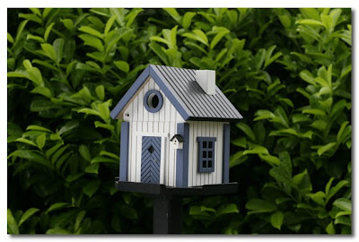 white and blue cottage bird house the french house