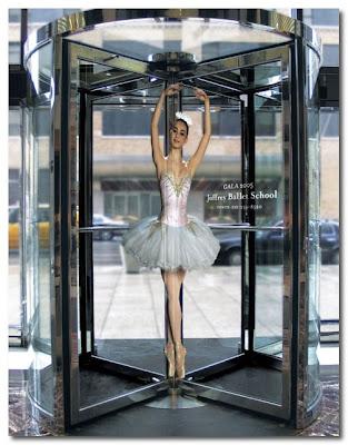 revolving door to a ballet school