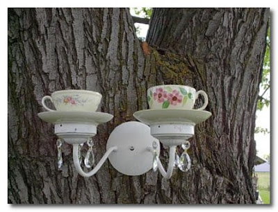 bird feeder made from teacups