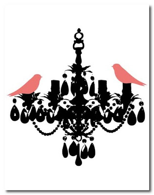 jaimers at etsy Salmon Birds on Crystal Chandelier