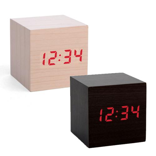 kikkerland clap on wooden cube alarm clocks. Black Bedroom Furniture Sets. Home Design Ideas