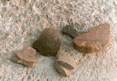 Όστρακα και άλλα κομμάτια αγγείων και κρατήρων στην διάρκεια ανασκαφής