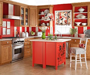 red kitchen walls and island decor