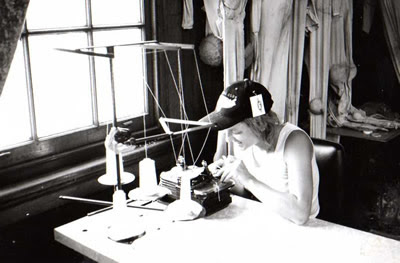 Eloise O'Hare in the Snuff Puppets sweat shop