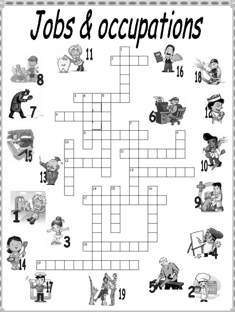 My English Printables: Jobs & Occupations, crosswords