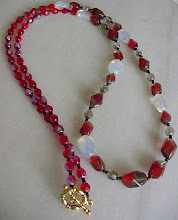 "Red and Gray Vintage Glass Beads - EBTW ""Lady in Red"" Sale"