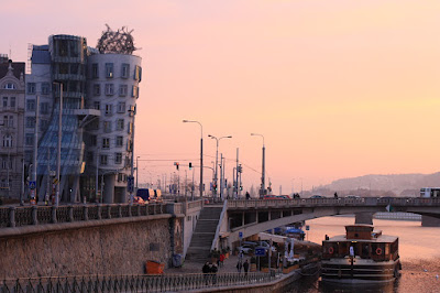 Prague - Dancing house during sunset