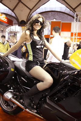 Prague - Girl at Motorcycle Show at Holesovice