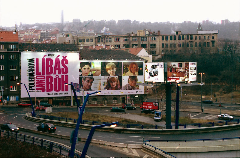 Big advertisement for Czech movie Libas jako Buh, Prague