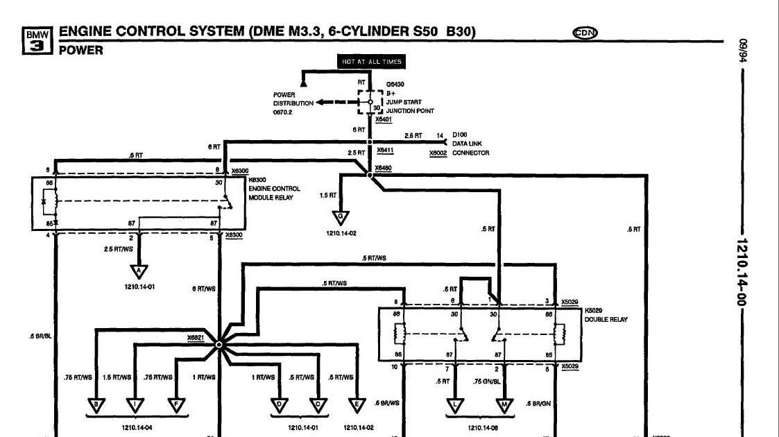 5 Lug E30 OBDI M52: S50 B30 injection schematic  wiring