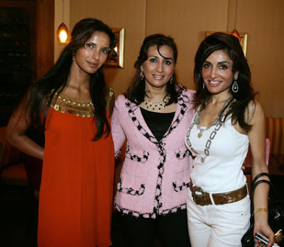 From L to R, Salman Rushdie's ex-wife and supermodel, Padma Lakshmi; Investment banker Vikram Gandhi's wife, Meera Gandhi; and, Raja Dhody's wife, Queenie Dhody