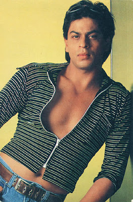 Shah Rukh Khan In A Woman's Top, Exposing His Midriff and Waxed Chest