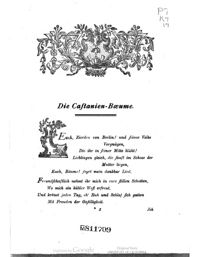 Dichterin Anna Louise Karschin Die Castanien Baeume