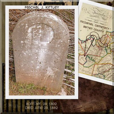 Photo of Paschal J. Kirtley tombstone originally shared by stevewoodsjr at ancestry.com in the Woods Beedle Tisdale McKeaig Mattingly Hepner Basye Nesselrodt family tree.