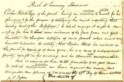 Page 1 of a scan of a 3-page letter of reference for Elisha Roberts of St Tammany Parish, Louisiana, dated 29 April 1822. Contributed by Diane Baldwin.