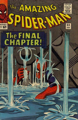 Amazing Spider-Man #33, Spidey trapped under machinery as he struggles to break free, Steve Ditko cover
