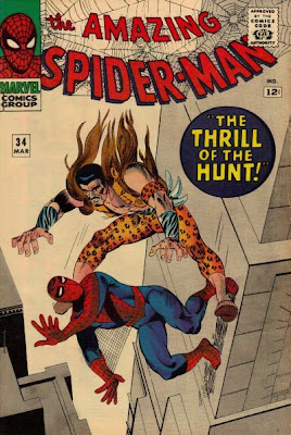 Amazing Spider-Man #34, Kraven returns, descends from above on our hero, Steve Ditko cover