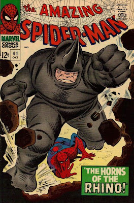 Amazing Spider-Man #41, making his first appearance, the Rhino smashes through a wall, John Romita cover