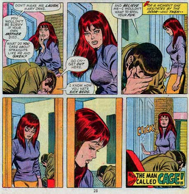 Amazing Spider-Man #122, Peter Parker and Mary Jane Watson at his apartment. Mary Jane crying