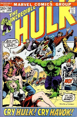 Incredible Hulk #150, Havok and Polaris, Hulk lifts a cliff