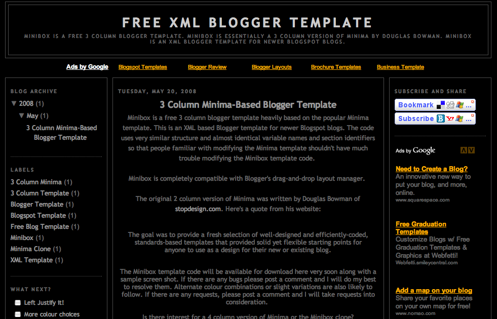 Free xml blogger template 3 column minima 3 col blogger for Design your own blogger template free