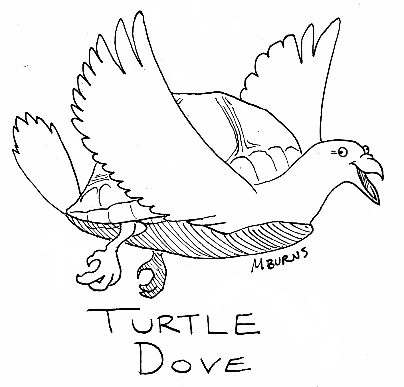 10 lords a leaping coloring page coloring pages for Turtle dove template